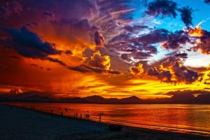 beautiful dark sunset over ocean