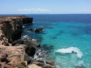 sunny sea by the rocks