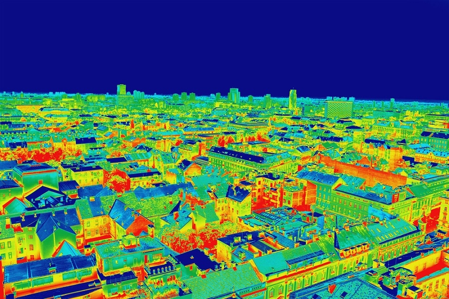 Thermal image over houses