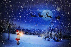 a drone for Christmas father Christmas on his sleigh