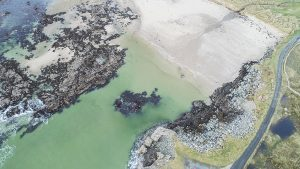 Drone pic looking down on Portnaling beach donegal