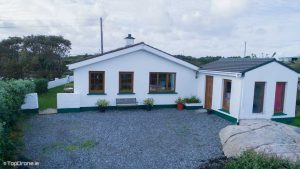 drone shot of front of home in dangle in donegal