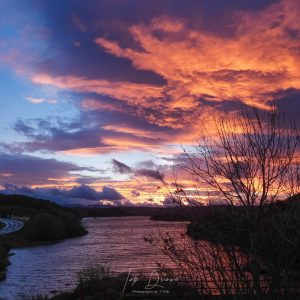 Dark sunrise over waskel lough