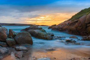 Arlands beach sunset misty sea