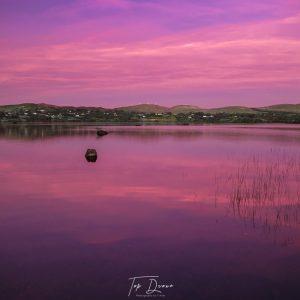 Lough Eske with purple sky at sunset i
