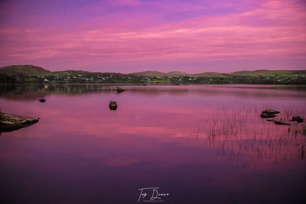 Lough Eske with purple sky at sunset i