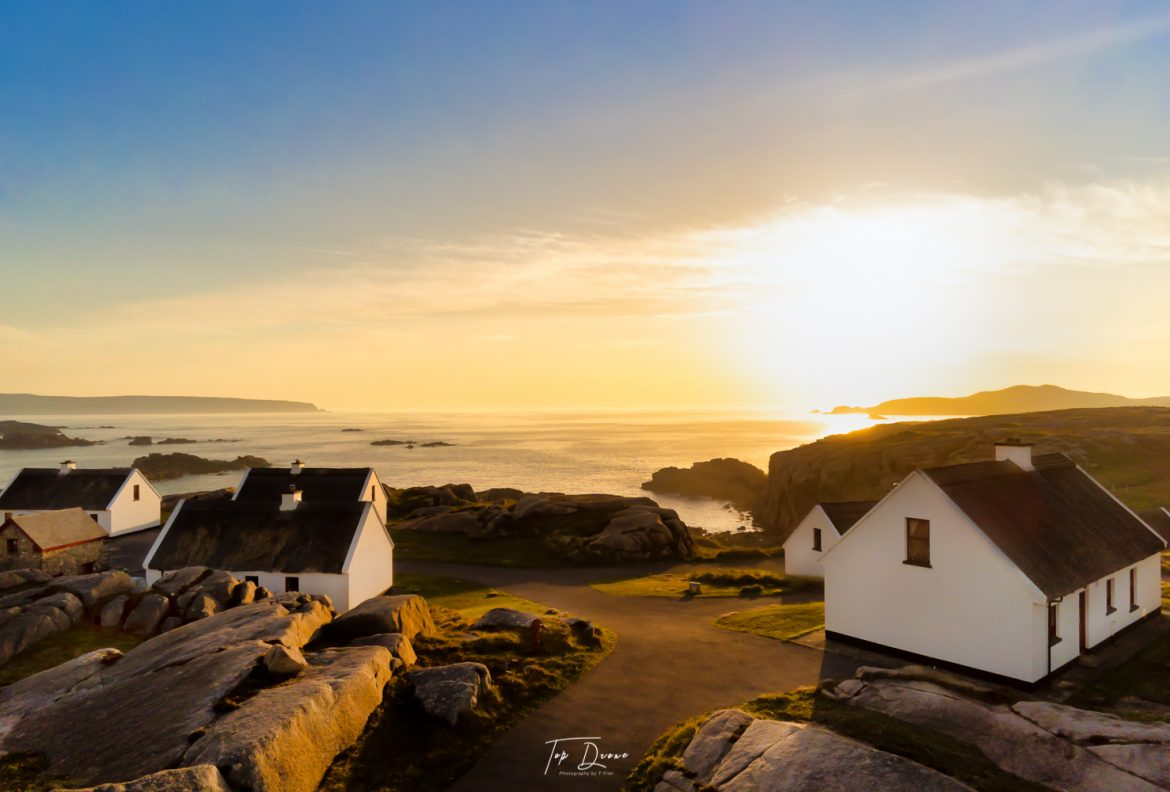 Donegal thatched cottages on cruit island